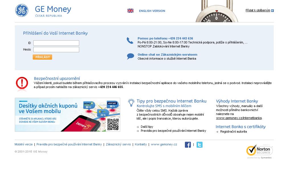 Mobilní bankovnictví GE Money bank